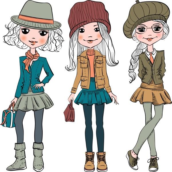 vector set cute fashion hipster girl