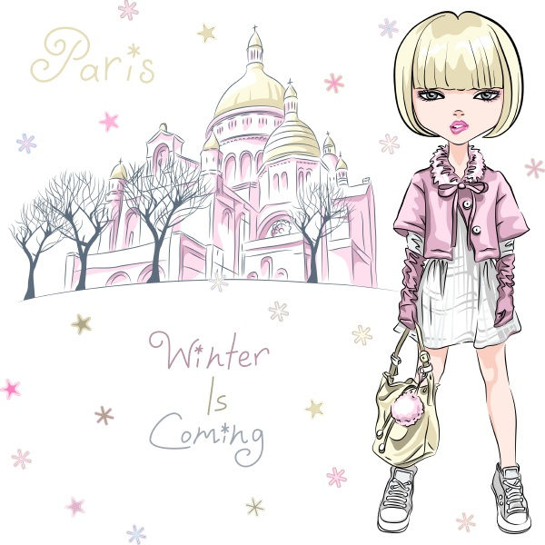 vector, fashion, girl, in, winter, clothes - 28293276