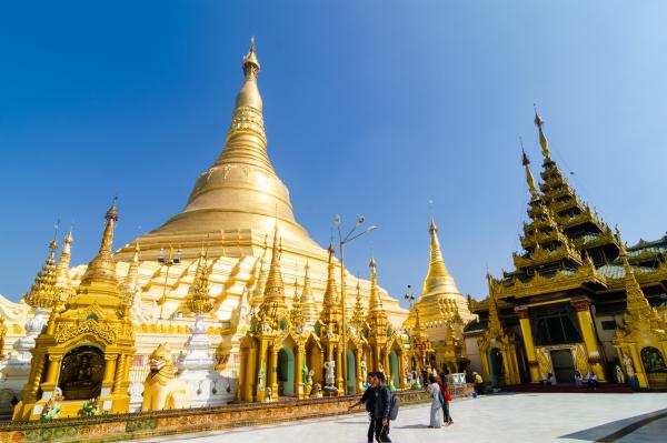 morning at the shwedagon pagoda yangon