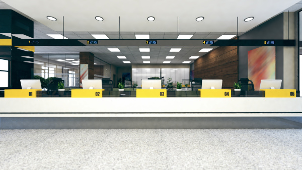 customer stand large open space office