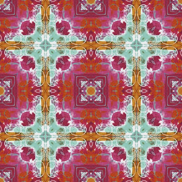 seamless pattern tile orange teal