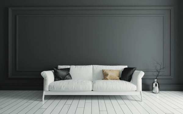 sofa, on, white, wooden, floor, and - 28303054
