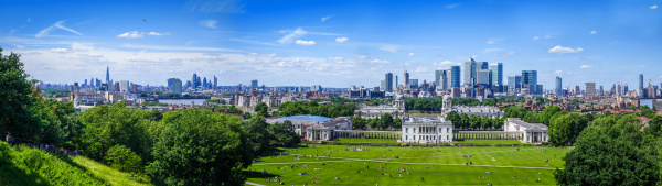 canary wharf panoramic view from greenwich