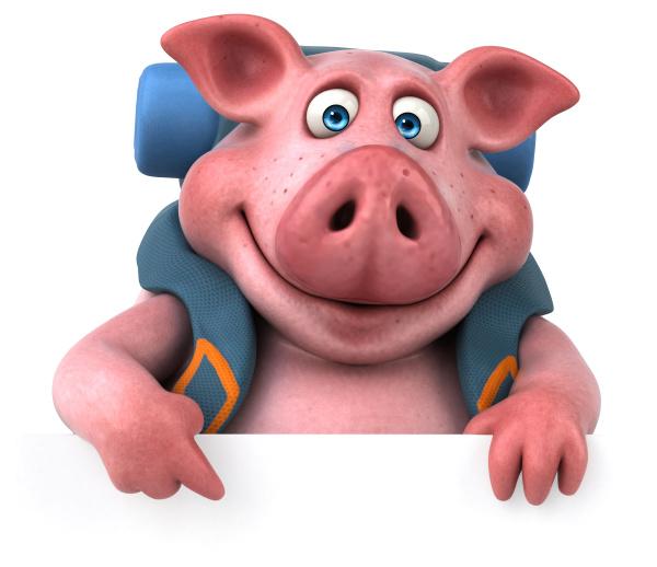 fun, backpacker, pig, cartoon, character - 28306482