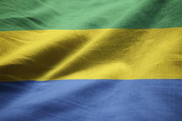 closeup of ruffled gabon flag