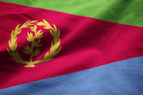 closeup of ruffled eritrea flag