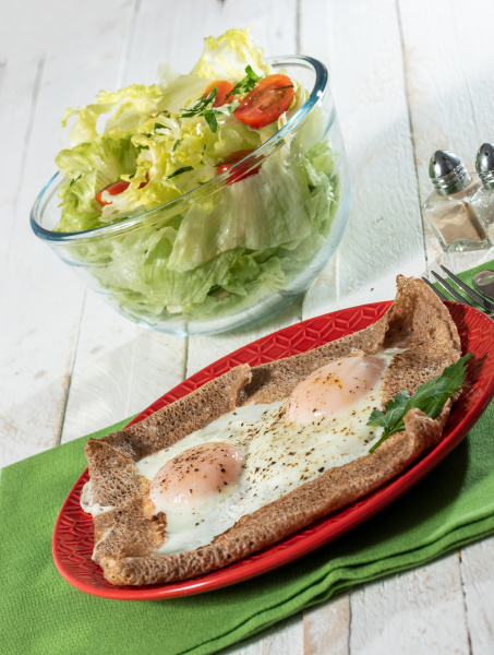 homemade breton crepe with egg and
