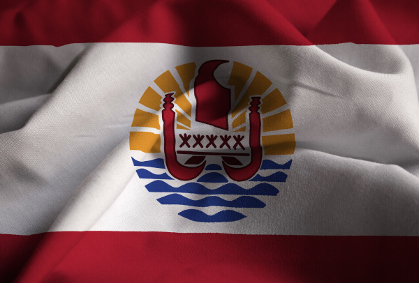 closeup of ruffled french polynesia flag