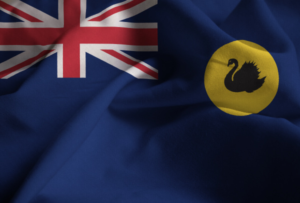 ruffled flag of south australia blowing