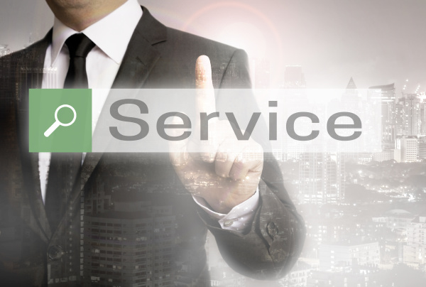 service browser with businessman and city