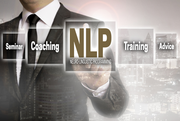 nlp businessman with city background concept