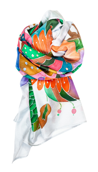 tied silk scarf with hand drawn