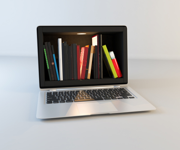 bookshelf in laptop screen realistic 3d