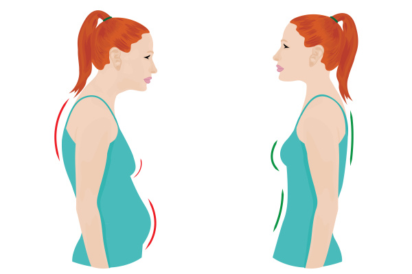 good and bad posture woman figure