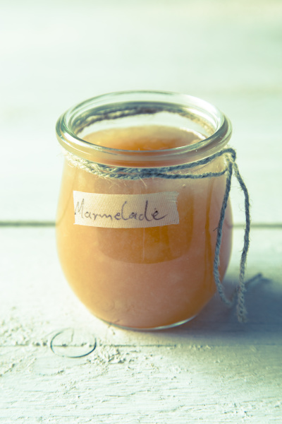 pear jam in a jar with