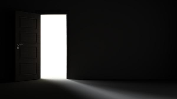 light entering from open door to