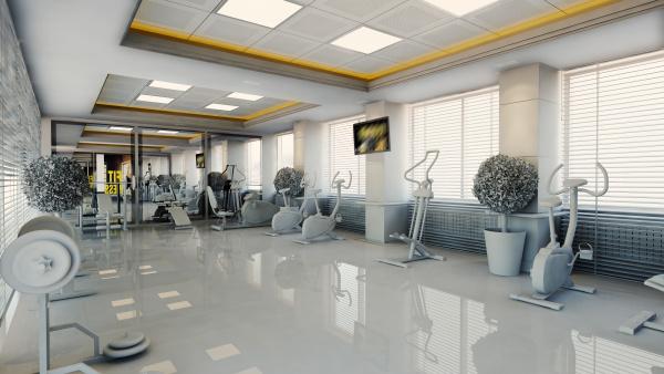 modern gym interior design realistic 3d
