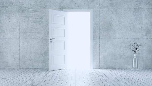light entering from open white door