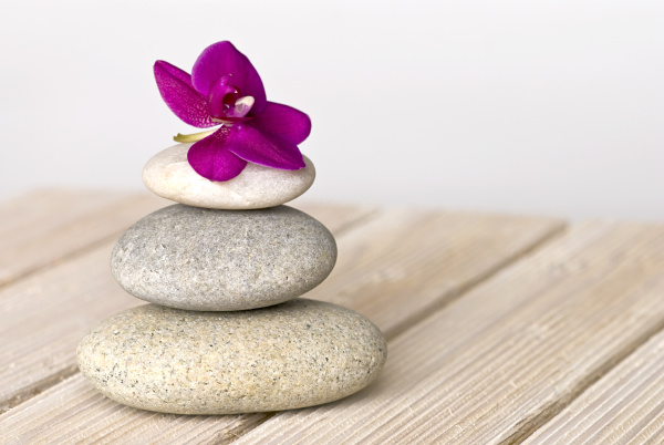 pink orchid and pebble zen style