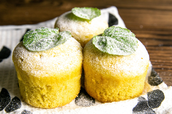 muffins and mint on a white