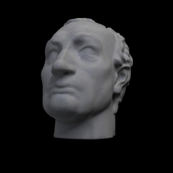 monochrome 3d rendering illustration of head