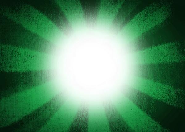 green sunburst with white glow