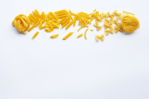different types of dry pasta on