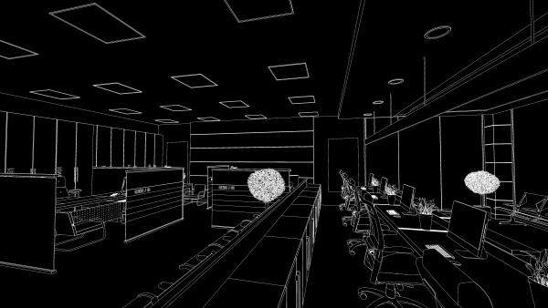 open space office perspective draw on