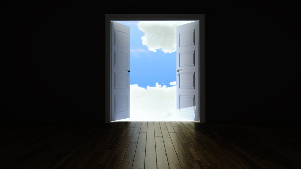 double door opening to the clouds