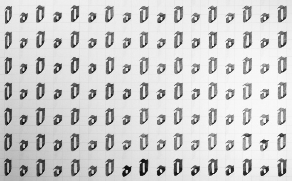 calligraphy black and white letters o