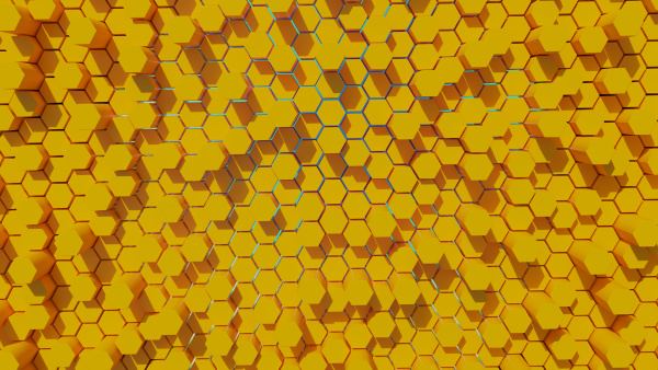 futuristic and game hexagonal yellow abstract