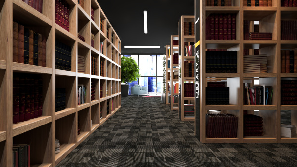 modern library design with wooden bookcases
