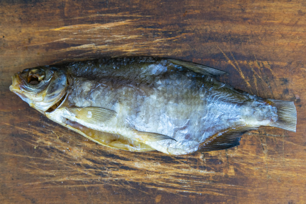 dried bream on a wooden background