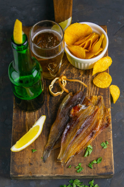 dried blue whiting fish with beer