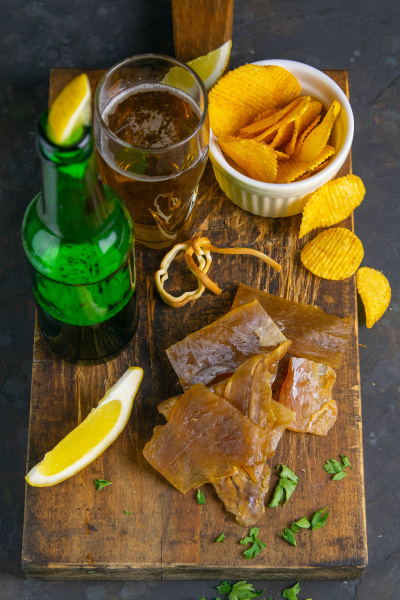 dried catfish fillet with beer