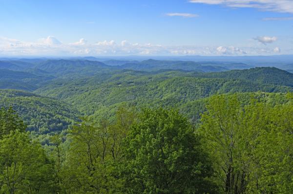 blue ridge mountain panorama on a
