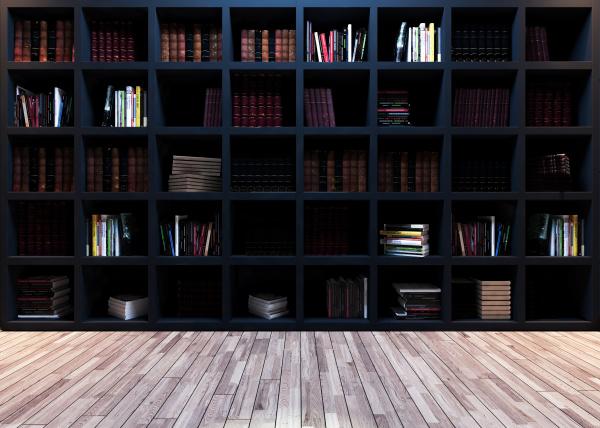modern black bookshelf with wooden parquet