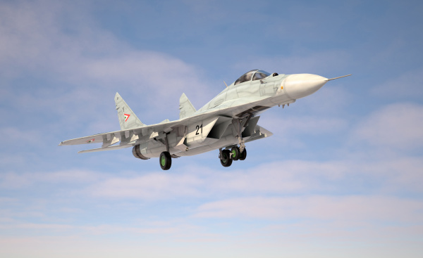 military fighter aircraft mig 29 landing