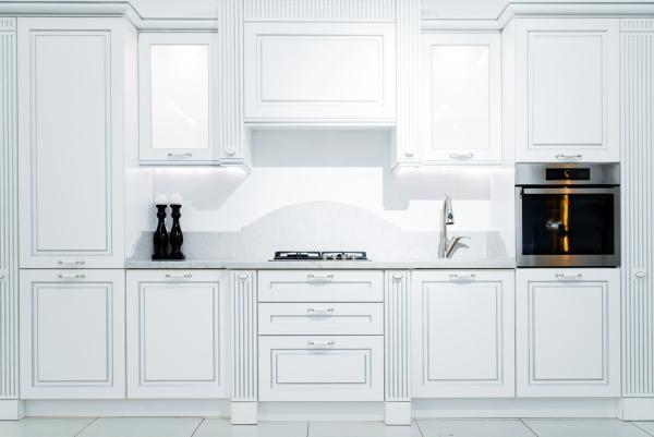 luxury kitchen interior in white and