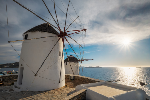 traditional greek windmills on mykonos island