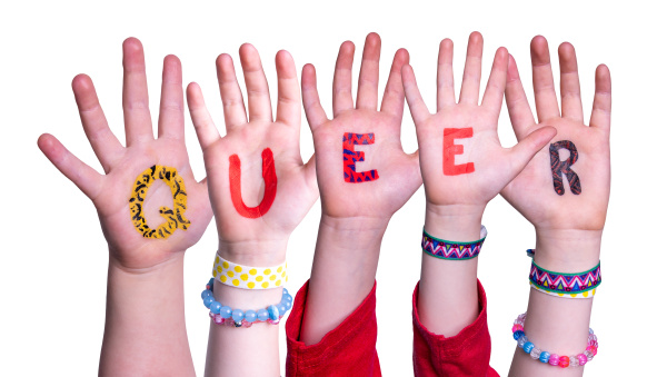 children hands building word queer isolated