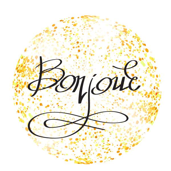 bonjour phrase on yellow confetti circle