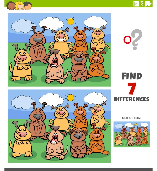 differences educational game with comic dogs