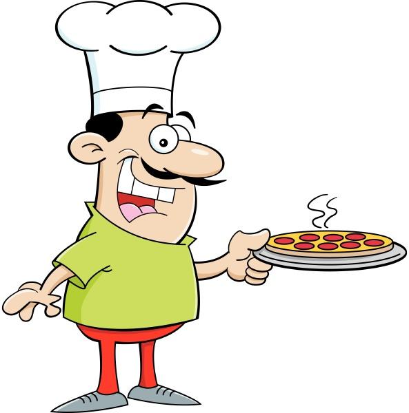 cartoon illustration of a chef holding