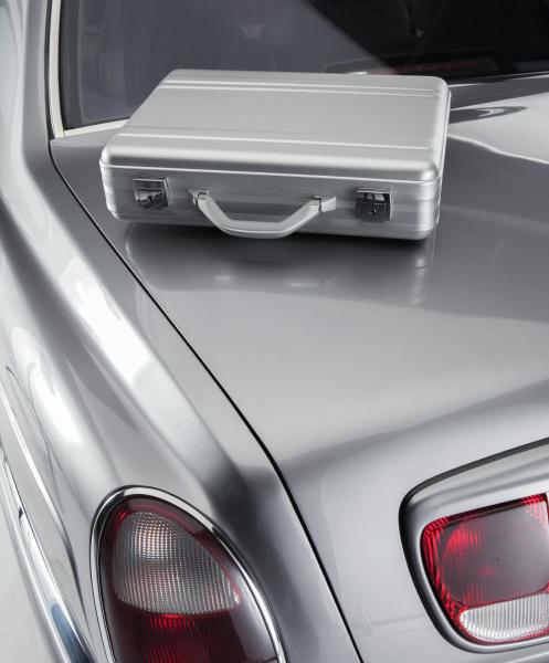 briefcase on a luxury car