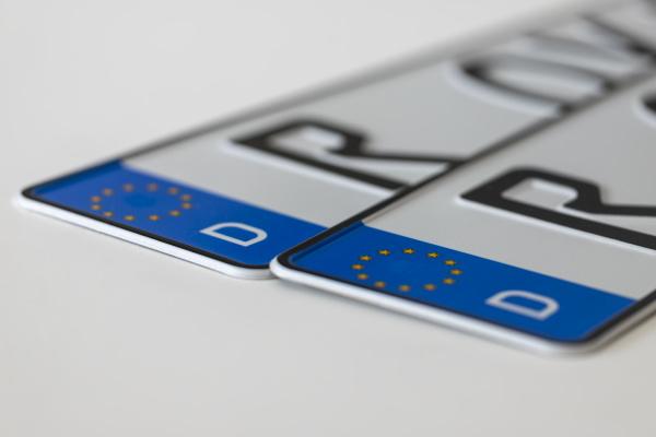 german license plates on white background