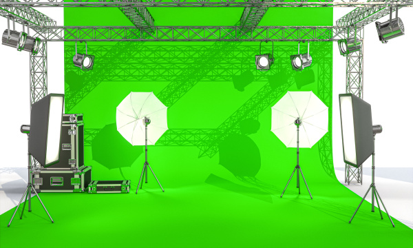 photographic set with lights and professional
