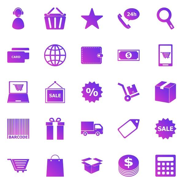 e commerce gradient icons on white