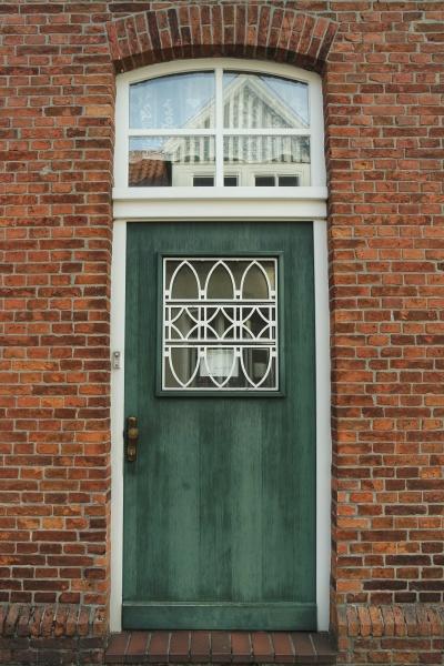 old front door in the brick