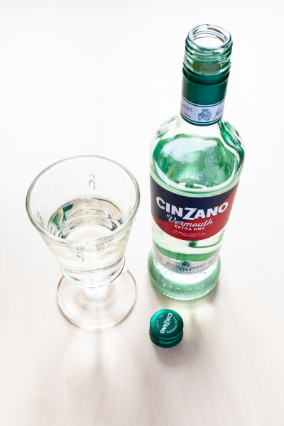 open bottle of cinzano extra dry